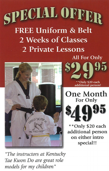 Special offers in tae kwon do